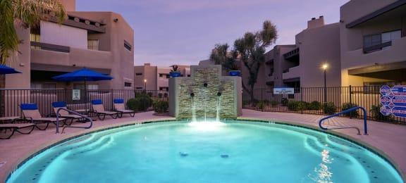 Twilight Pool at Scottsdale Horizon Apartments, Scottsdale, AZ