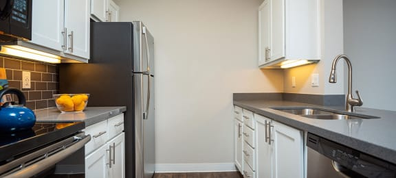 Furnished kitchen at Axcess 15 Apartments, Oregon, 97232