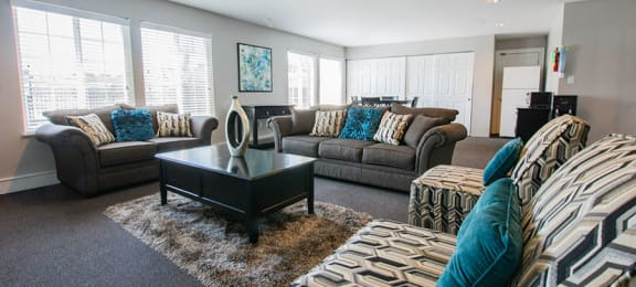 Decorated Living Room at Country Lake Townhomes, Indianapolis, Indiana
