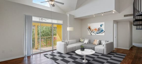 Model living room with private patio