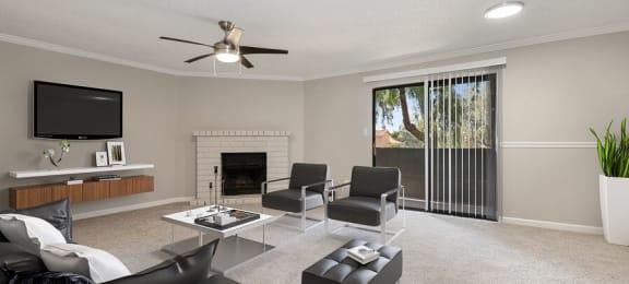 Model Living room showcasing fireplace