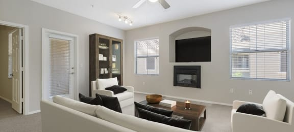 Model living room and fireplace