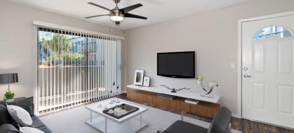Model living room with patio door