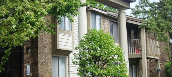 Exterior of Summit Apartments with trees