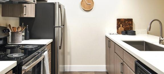 Echo Mountain Apartments Model Kitchen Counter and Appliances