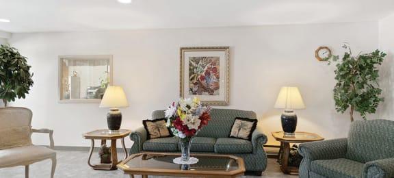 Resident lounge sofa at Woodlands at Forbes Lake in Kirkland WA