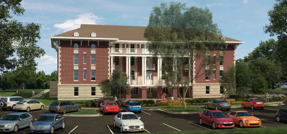 Rendering-Outside of clubhouse/parking lot