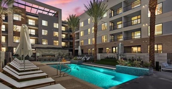 Pool and pool patio at Trovita Rio Apartments in Tempe, AZ