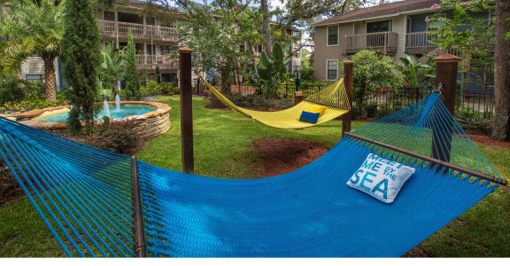 Lay out and relax at our hammock garden