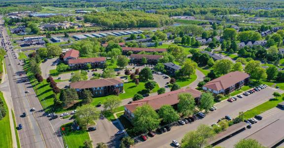 Aerial Neighborhood View at Seville Apartments, Kalamazoo, MI