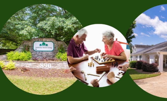 Welcome to Amberley Senior Living banner with exterior building