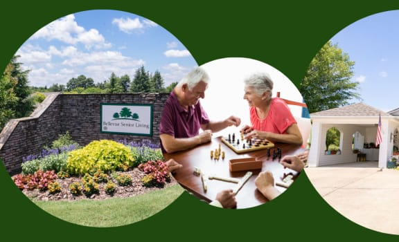Woodward senior living banner with active seniors and exterior building