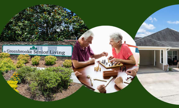 Greenbrooke senior living banner with active seniors and exterior building shot.