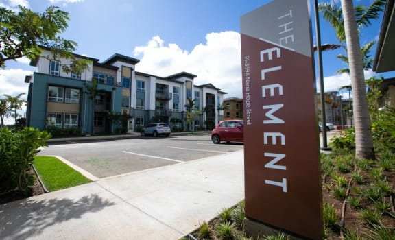 The Element West Oahu Apartments signage and pathway