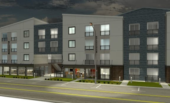 Apartments in Phoenix-Imperial Virtual Apartment Rendering Showcasing Lush Landscape, Private Balconies, and Modern Paint Scheme