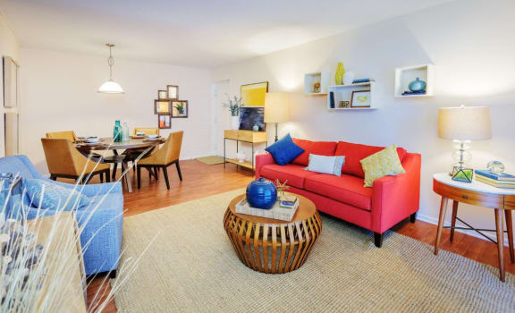 Living Room With Dining Area at The Pointe at Midtown, Raleigh, North Carolina