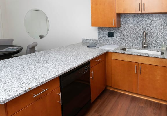 Kitchen With Custom Cabinetry at Gray Estates Apartments, MRD Conventional, St. Clair, Michigan