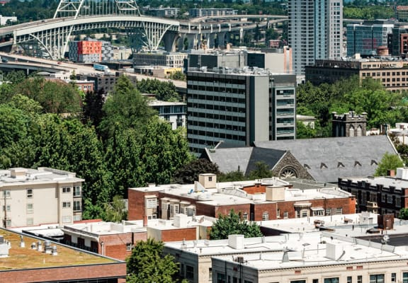 View of downtown from Portland Towers' Rooftop Decj