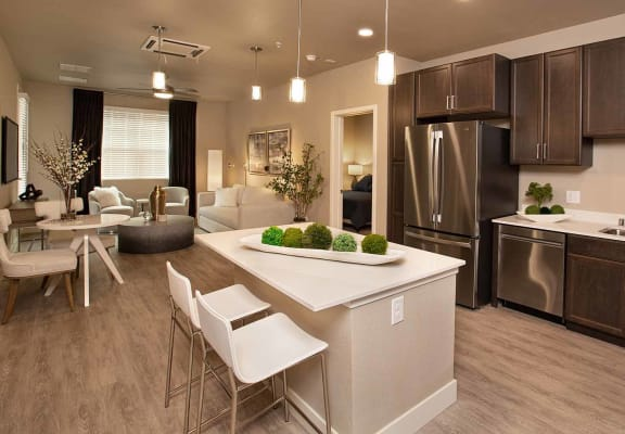 Kitchen with living room at ALLURE AT 2920, Modesto, 95356