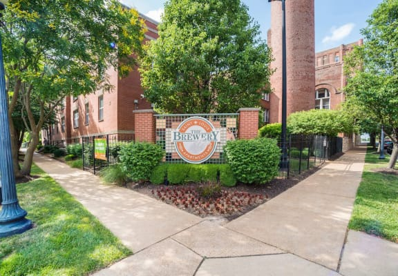 Exterior and front entrance sign-The Brewery Apartments, St. Louis, MO
