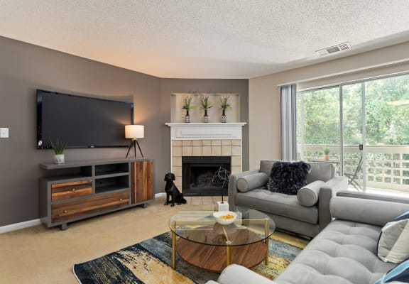Living room with couch, coffee table, end table, area rug, arm chair, tv unit, wall mounted TV & fireplace.