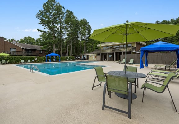 Pool and cabanas at Spring Forest Apartments