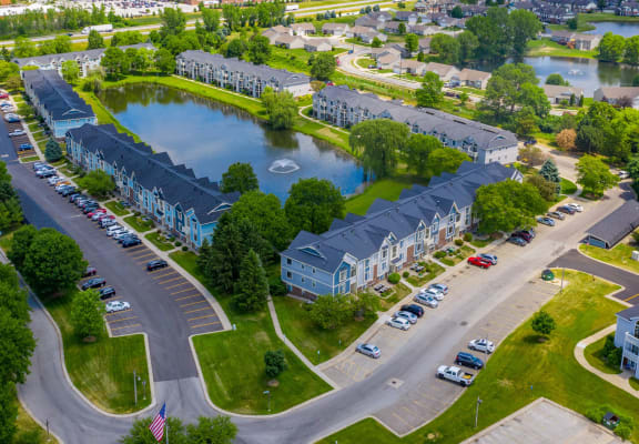 Aerial View Community at Indian Lakes Apartments, Indiana, 46545