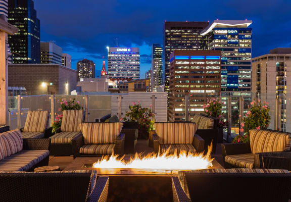 Rooftop Lounge With Fireplace at 2020 Lawrence, Colorado, 80205