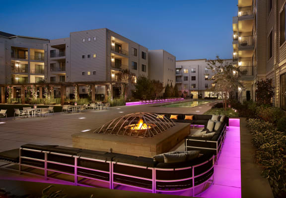 Outdoor Lounge Area With Fireplace at AVE Union, Union, New Jersey