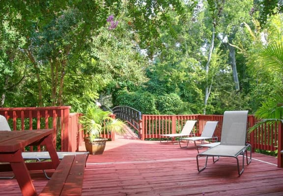 Sun deck with sitting area, at Cambridge Court Apartments, Nacogdoches, TX