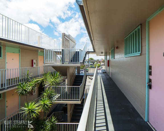 Kam IV Apartments exterior hallways and doors