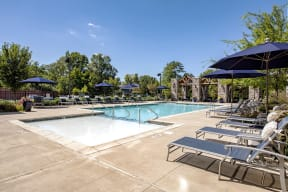 outdoor pool area for apartment building residents
