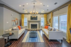 Living Room At Clubohuse at Southpoint Crossing, Durham, NC