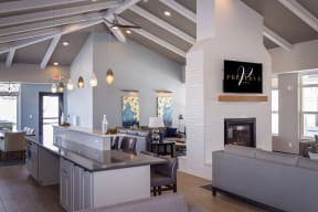 Clubroom with Kitchen and Lounge Areas
