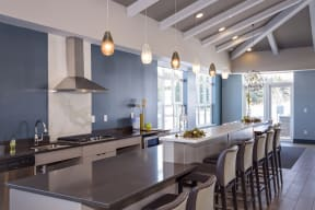 Clubroom Kitchen Area with Expansive Island and Ample Barstool Seating