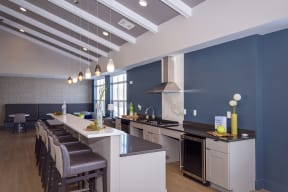 Clubroom with Kitchen and Vaulted Ceilings