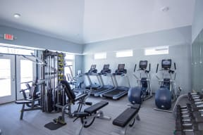 Spacious Fitness Center with Cardio and Strength Training Equipment