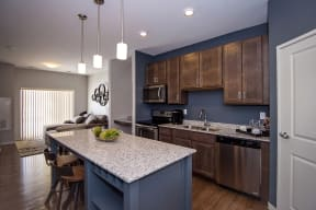 Kitchen with Granite Countertops and Large Island