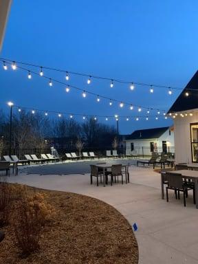 Outdoor Sundeck Lounge Under Twinkling Lights