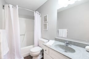 Renovated Bathroom with White Vanity and Grey Countertop
