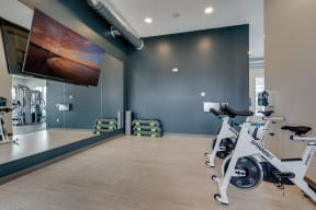 Spin Bikes with Large Wall Mirror