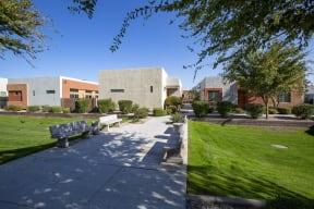 Courtyard seating at Casitas at San Marcos in Chandler AZ Nov 2020