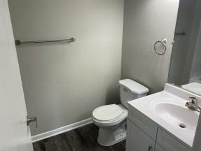bathroom with upgraded hardware in Platinum upgrade unit