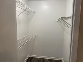 large walk in closet in platinum upgrade unit at Avisa Lakes Apartments