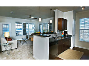 Island Kitchen With Living Room View at The Residence at Marina Bay, Irmo