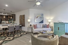 Living Room With Gourmet Kitchen View  at Residence at Tailrace Marina, Mount Holly, NC, 28120
