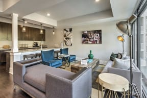Luxurious Living Area With Kitchen View at Residence at Tailrace Marina, Mount Holly, NC