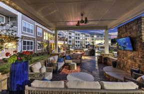 Outdoor Lounge Area With Smart TV at Residence at Tailrace Marina, North Carolina