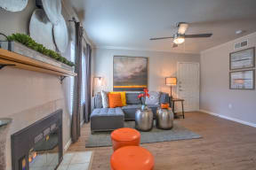 Living room with fireplace | Altezza High Desert