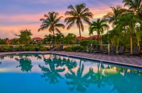 Poolside sunset    Bay Breeze Villas